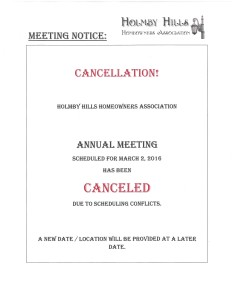 HHHOA - ANNUAL MEETING (CANCELLATION-POSTPONEMENT)